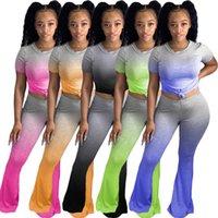 Damen Steigung-Farben-Zweiteiler Kurzarm T-Shirt und Flare Hosen-Anzug Anzug Matching Set Outfit Plus Size S-XXL