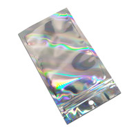 200pcs richiudibile Piccolo Mylar serratura della chiusura lampo sacchetti piani della guarnizione di auto di plastica trasparente della parte anteriore della confezione olografici foro di caduta Buste