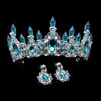 Sky modo di bellezza di cristallo blu Wedding corona e tiara Grande strass regina spettacolo Corone fascia dei capelli per la sposa Accessori Y200807