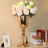21.6 inç uzun boylu altın metal vazolar düğün dekorasyon parti yol kurşun geçit koridor masa çiçek centerpiece
