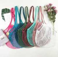 Shopping Bags Handbags Shopper Tote Mesh Net Woven Cotton Bags String Reusable Fruit Storage Bags Handbag Reusable Home Storage Bag SN3302