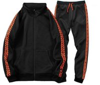 Pencil Pants Fashion Mens 2PCS Set Pullover Jacket Casual Sp...