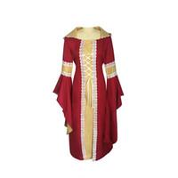 중세 법원 드레스 여성용 Tabby 큰 경적 슬리브 여성 핫 스타일 중세 궁전 드레스 일반 짜다 스티치 큰 플레어