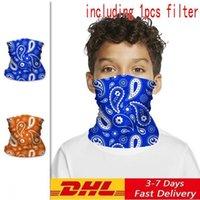 DHL niños ciclismo máscaras con filtro de PM 2,5 bufanda mágica del pañuelo de la motocicleta Pañuelos Pañuelo cuello de la cara máscara máscaras montar a caballo al aire libre FY7145