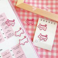 لطيف مقاطع الورق الوردي الكرتون مجعد الذيل الخنازير شكل مخطط المعادن ورقة مقاطع الإشارات المرجعية الإيداع لوازم المدرسة مكتب التموين BH2713 DBC