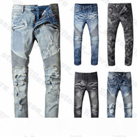 20ss Herren Designer Jeans Distressed Ripped Biker Slim Fit Motorradfahrer Denim für Männer s Top-Qualität Art und Weise bemannt Hosen hommes gießen