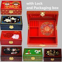 Madeira pintada caixas decorativas Caixa de armazenamento presente de casamento aniversário de 2 camadas mão Caixa de jóias com bloqueio chinês Lacquerware Assista Case Cosmetic