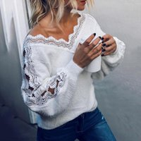 Women Sexy sweater V Neck Long Sleeve Knitted Jumper Lace Ho...