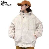 UHYTGF Women Basic Jackets Spring Autumn College style Jacket Female Casual Coats Plus size Loose Hooded coats tops Fashion X266