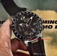 2019 حار بيع 13 جديد التنفيذي El Toro / Black Toro Perpetual Calendar GMT 326-00-3 / BQ Rose Gold Blue Dial Rubber Automatic Mens Watch UN-17C3