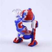 물 담뱃대 미니 봉지 실리콘 봉 분리형 현대 로봇 디자인 유리 물 케이스 흡연 파이프 상자 포장.
