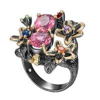 مخزون كبير الحلو الأحمر الوردي كريستال CZ الدائري متعدد حجر مجوهرات ورقة زهرة المرأة ذات جودة عالية حلقات مجوهرات دروبشيبينغ