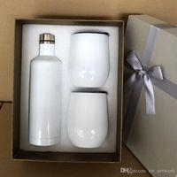 Les moins chers verres à vin blanc Sublimation paquet cadeau mis 500ml bouteille de vin rouge en acier inoxydable coquetiers de verres à vin 12oz isolé Coffret cadeau
