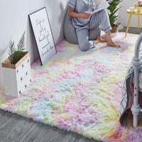 Arco-íris Tapete Gradiente Tie-dye Plush tapete Sala Coffee Table Pad Tapete Quarto cabeceira Janela Rug Bebê de rastejamento Mat