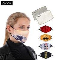Zohra Cotton Washable маска Печатный рот маска Рот Caps ушной крючок Mouth маска многоразовых с 2pcs фильтром
