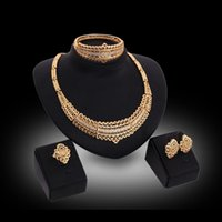 Earrings Necklace Ring Bangle Jewelry Sets Fashion Women Royal Style Rhinestone 18K Gold Plated Hollow Out Party Jewelry 4-Piece Set JS152