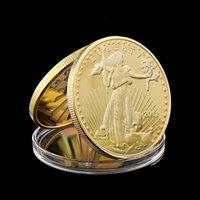 우리는 자유의 자유 기념품 공예 1oz 24K 진짜 금 도금 배지 미국 독수리 동전