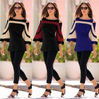 Kadınlar Tişörtü Katı Gevşek Sonbahar dikişli straplez yarasa kollu kazak Tişörtü Kız Kazak Tişört Hip Hop Bluz CZ81004 Tops Giyim