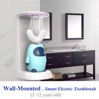 360 gradi a forma di U intelligente spazzolino elettrico sonico per bambini parete montati bambini ricaricabili impermeabile automatico delle spazzole dente