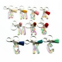 Inicial da letra Tassel viaturas Anéis Titular Chains Mulheres Acrílico chave Acessórios de Moda A-Z encantos do alfabeto bolsa pingente