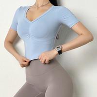 Yoga Outfits Sexy Vol Col Crop Top plis T-shirt Fitness T-shirt Femmes Respirant Formation T-shirt Sport T-shirt Gym Rapide Shey Hauts
