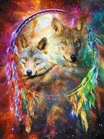 Алмазные Картина Animal Wolf Fox 5d Diy Мозаика Полный площади Круглый Дрель Diamant горный хрусталь Даймонд вышивки Фотографии Продажа