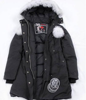 Reale Fotos-Canada Schere Wasserdichte Daunenjacke Bomberjacke Winter langen Designer-Jacke für Frauen Rote weiße schwarze unten Frau