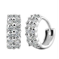 Double rangée cubique Zircon Boucles d'oreilles Hoop Dazzling Bijoux Bijoux en argent pour femmes Mode couleur S-E11