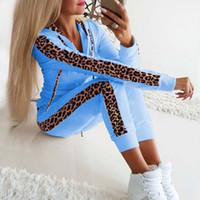 여성용 Tracksuits 2 조각 세트 여자 까마귀 바지 Tracksuit 가을 겨울 여성 레오파드 sportwear 캐주얼 여성 지퍼 조깅 정장 플러스 Siz