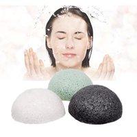 Esponjas, aplicadores Algodão Natural Konjac Cor Aleatória Macia Magia Face Limpeza Pomo Puff Eco-Friendly Lavagem Limpeza Esponja Cleanser Skin