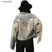 Extragrande Mulheres Jeans Vintage Jacket Com Tassel 2020 Brasão Outono Streetwear solto Feminino Denim Jackets manga longa Outwear
