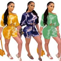 Женщины плюс размер S-2XL наборы трексец с короткими рукавами верхние брюки костюм двух частей набор печати повседневные фитнес-наряды