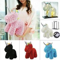사랑스러운 LED 로즈 유니콘 비누 거품 인공 꽃 장난감 선물 상자 크리스마스 여성 발렌타인 결혼 선물 해 배송 DDA487