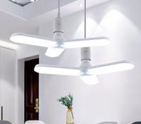 E27 LED 접는 잎 램프 밝은 변형 가능한 주차장 등 주차 빛 AC 85-260V 팬 블레이드 전구 30W / 45W / 60W