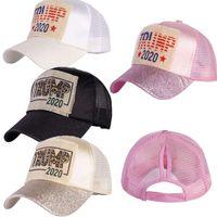 Presidente Trump 2020 bola Boné de beisebol Caps para as Mulheres senhoras Glitter Brilhante Snapnacks ajustável Rabo Visor Moda headwears E9101