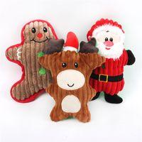Cachorro mastigar brinquedos filhote de cachorro bonito dos desenhos animados do brinquedo dos desenhos animados animais de estimação de Natal molar macarrão boneca de pelúcia Santa boneco de neve presentes