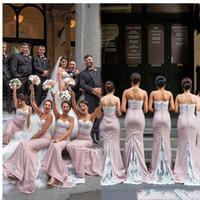 2021 السباغيتي الأشرطة حورية البحر طويل فساتين وصيفات الشرف الرباط يزين شرف خادمة مخصص Vestidos دي Bridemaid اللباس