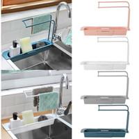 Télescopique évier de cuisine égouttoir Support de rangement panier Sac Porte-robinet Porte réglable lavabo Cuisine Accessorie