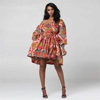 فساتين عادية 2021 حزب المرأة التقليدية طباعة قبالة الكتف ضمادة القوس اللباس الملابس الأفريقية vestidos