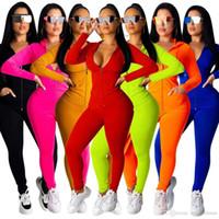 Kadın Tasarımcılar Giysileri 2021 Eşofman Spor Pembe Eşofman Uzun Kollu Ceket Pantolon Tow Parça Set Hoodie Legging Kıyafetler Bodycon Spor