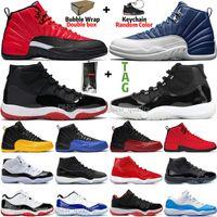 Nueva 11s 11 25 Aniversario Bred Concord 45 zapatos de baloncesto del Mens atasco del espacio 12 12s Indigo juego gripe Real inversa juego de los hombres zapatillas de deporte