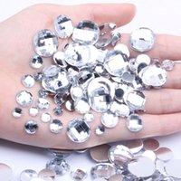 4mm-25mm Acryl Strass Runde Erde Facetten Crystal Clear Flatback Kleber auf der Korn-DIY Phone Cases Nails Art Supplies