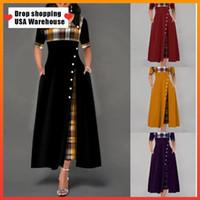 여성 2020 새로운 여성 Maxi 드레스 캐주얼 불규칙 격자 무늬 인쇄 버튼 반 슬리브 라운드 넥 플러스 크기 우아한 파티 긴 드레스