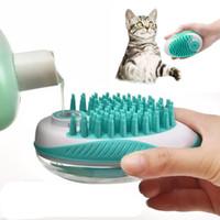Pet 2 em 1 Bath noivo Escova Dog Cat Massage Brushes Remove cabelo afrouxa Comb Pet chuveiro purificador Shampoo Dispenser Grooming Tools