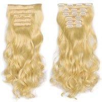 Синтетические Длинные волнистые клип в наращивание волос Женщины Ложные Кусочки волос Ombre Черный Коричневый Белый стайлинга