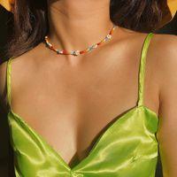 VSCO فتاة البوهيمي ملون الخرز زهرة المختنق قلادة بيان قصير الياقة عظم الترقوة قلادة من الخرز سلسلة للمرأة الصداقة مجوهرات