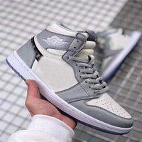 Ucuz 1 Yüksek OG Gri 2020 Erkek Basketbol Ayakkabı Tasarımcı Sneakers Eğitmenler 1 S Üst Kristal Alt Sepetleri Kabartmalı