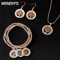 WENDYFO New Fashion Gold Color Crystal Pendant Necklace Set ...