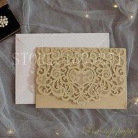 70pc / الكثير Champgne الليزر الذهب قص جيب دعوة الزفاف جناح مجانا تصميم / طباعة القلب على غرار بطاقة الاشتباك زفاف