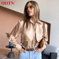 OOTN Casual çevirin Aşağı Yaka Ofisi Bayanlar Saten Gömlek Kadın Bluz Düğme Şık 2020 Bayan Ve Bluzlar Sonbahar Moda Tops